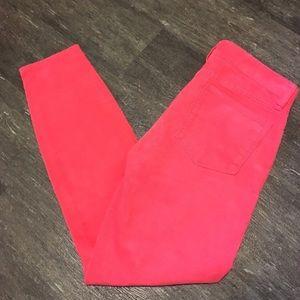 {j.crew} Hot Pink Toothpick Corduroy Skinnies